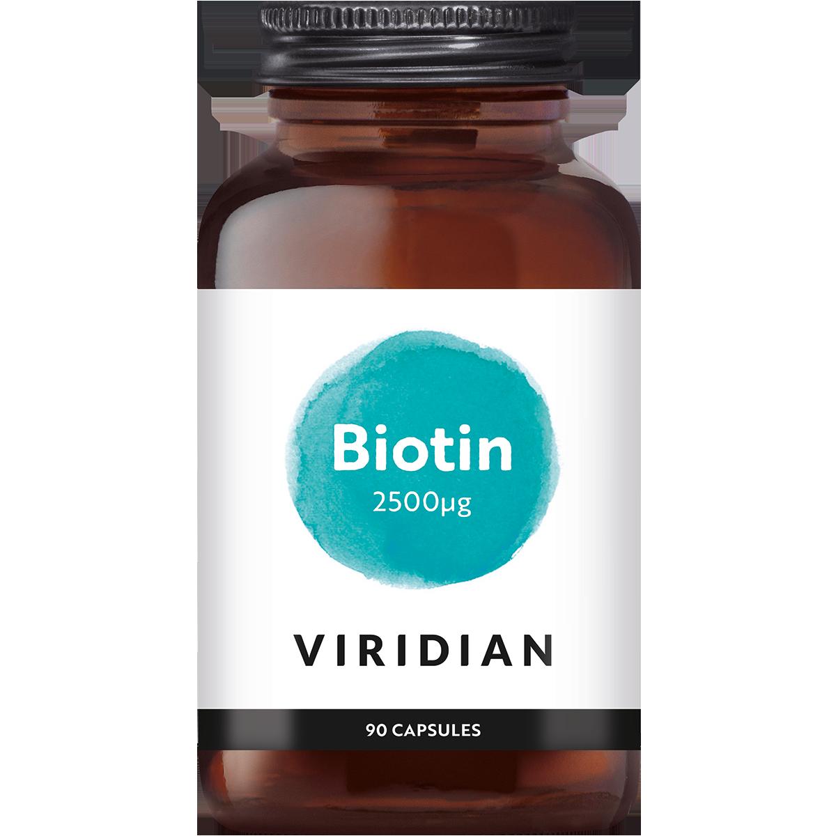 Biotin 2500 µg, Viridian, Is goed voor de conditie van het haar. Helpt bij de verzorging van de huid van binnenuit.